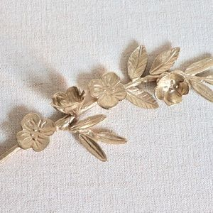 Other - Decorative gold metal leaf and flower stem